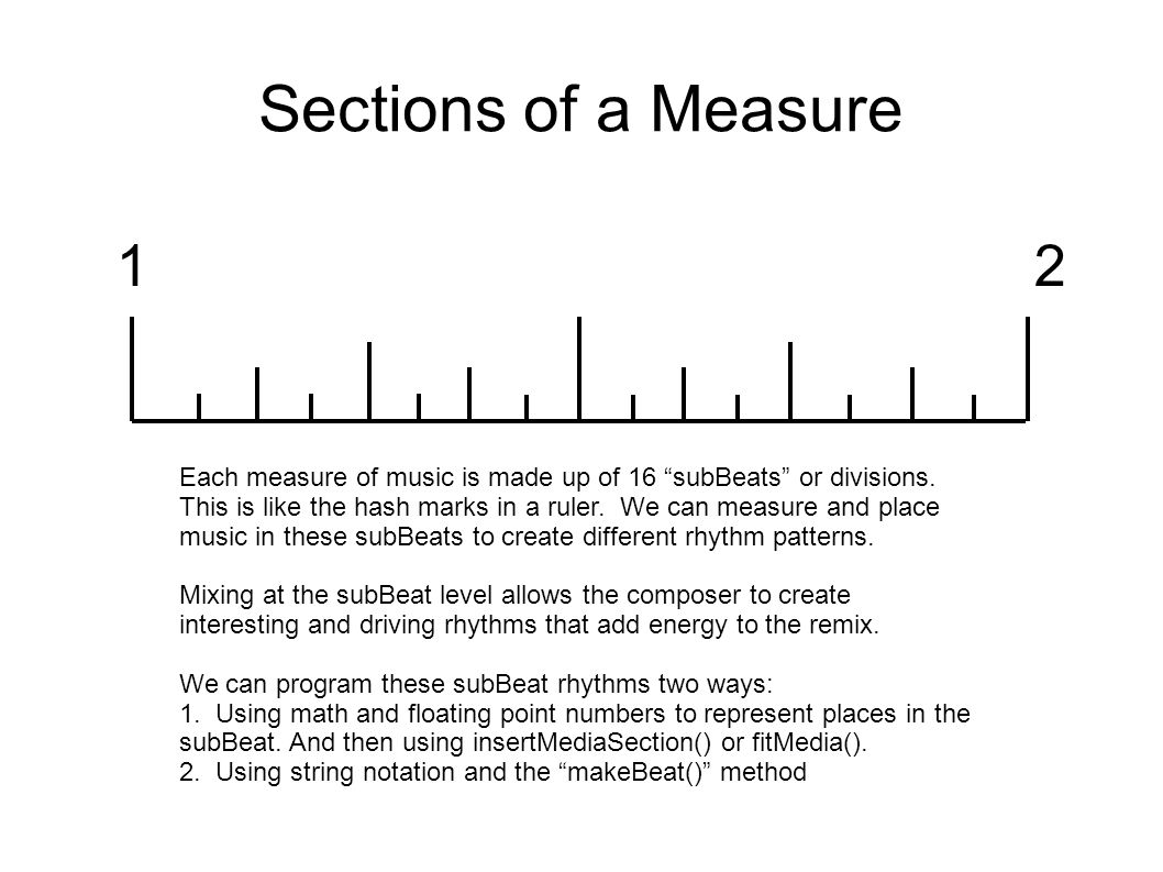 Sections of a Measure 1212 Each measure of music is made up of 16 subBeats or divisions.