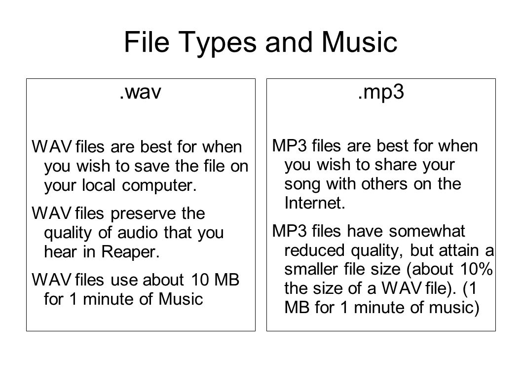 File Types and Music.wav WAV files are best for when you wish to save the file on your local computer.