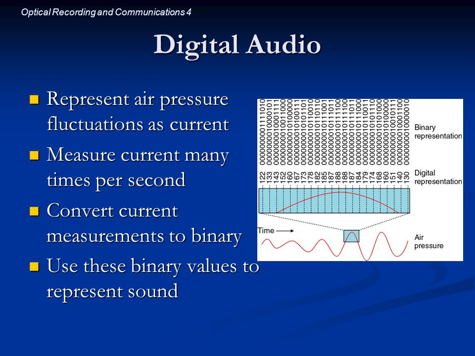 Optical Recording and Communications 4 Digital Audio Represent air pressure fluctuations as current Represent air pressure fluctuations as current Measure current many times per second Measure current many times per second Convert current measurements to binary Convert current measurements to binary Use these binary values to represent sound Use these binary values to represent sound