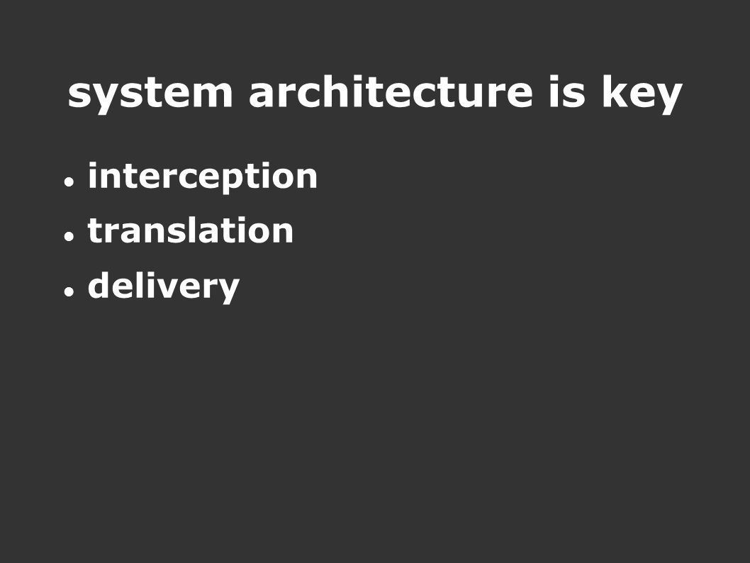 system architecture is key interception translation delivery