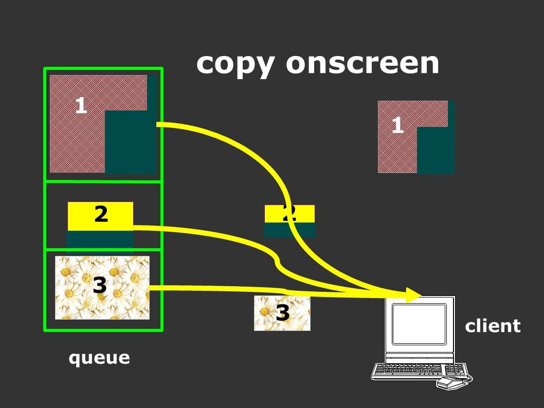 client queue 1 2 3 3 2 1 copy onscreen