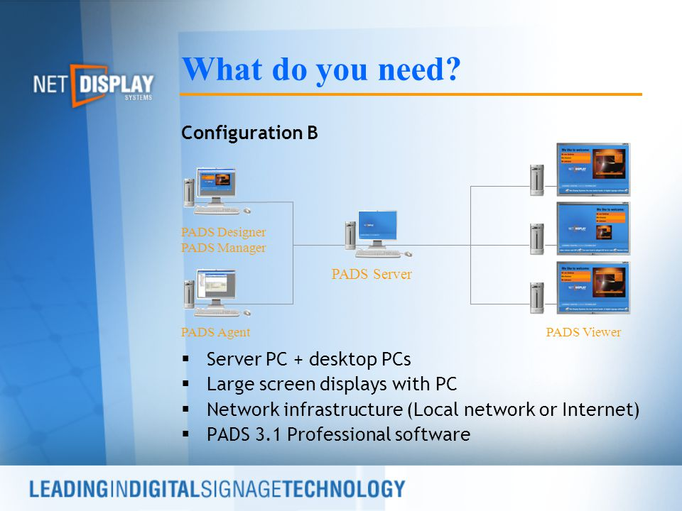Configuration B  Server PC + desktop PCs  Large screen displays with PC  Network infrastructure (Local network or Internet)  PADS 3.1 Professional software What do you need.