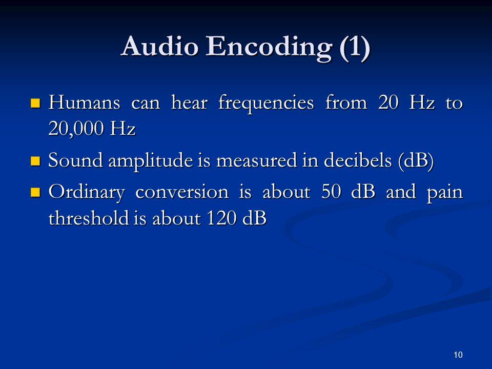 10 Audio Encoding (1) Humans can hear frequencies from 20 Hz to 20,000 Hz Humans can hear frequencies from 20 Hz to 20,000 Hz Sound amplitude is measu
