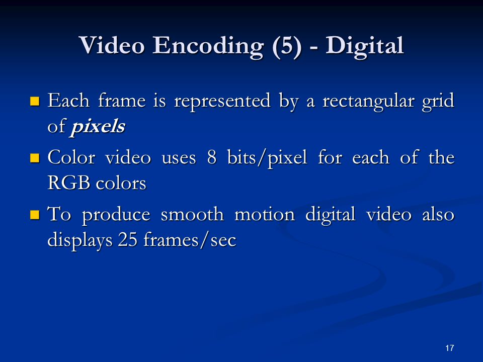 17 Video Encoding (5) - Digital Each frame is represented by a rectangular grid of pixels Each frame is represented by a rectangular grid of pixels Co