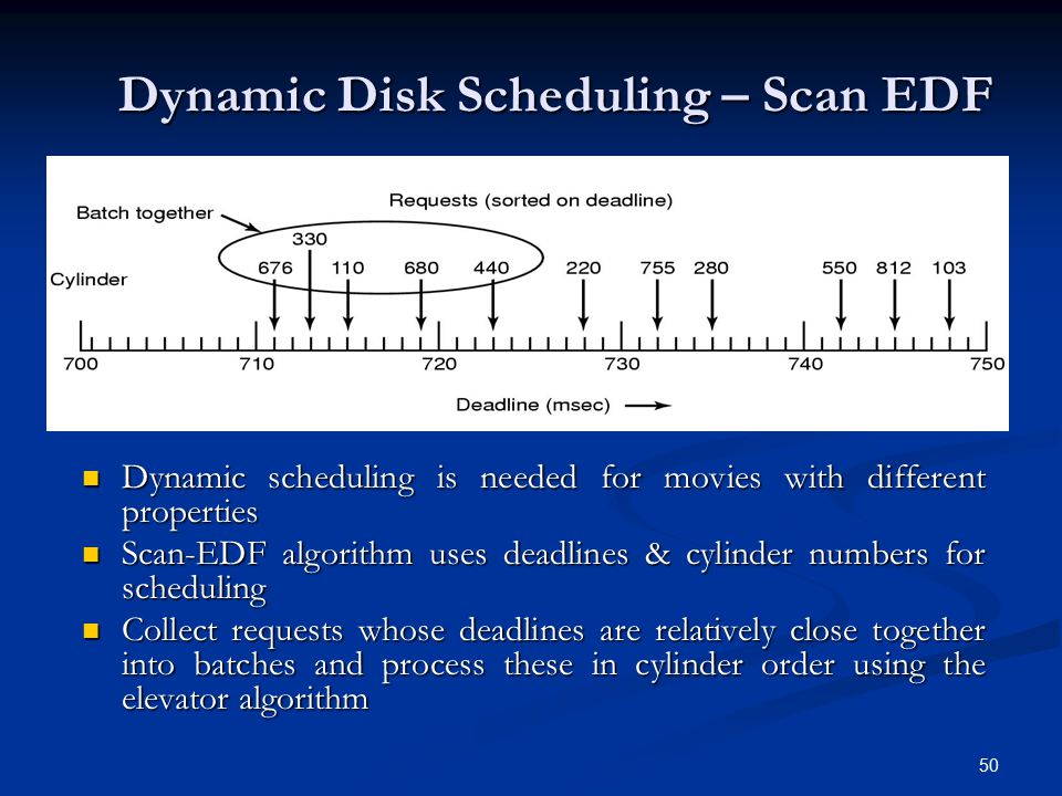 50 Dynamic Disk Scheduling – Scan EDF Dynamic scheduling is needed for movies with different properties Dynamic scheduling is needed for movies with d