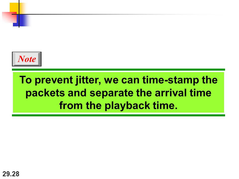 29.28 To prevent jitter, we can time-stamp the packets and separate the arrival time from the playback time.