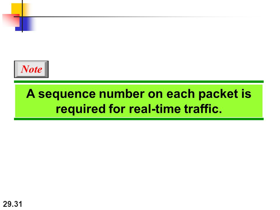 29.31 A sequence number on each packet is required for real-time traffic. Note