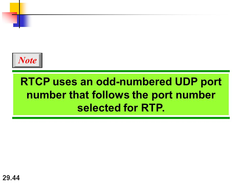 29.44 RTCP uses an odd-numbered UDP port number that follows the port number selected for RTP. Note