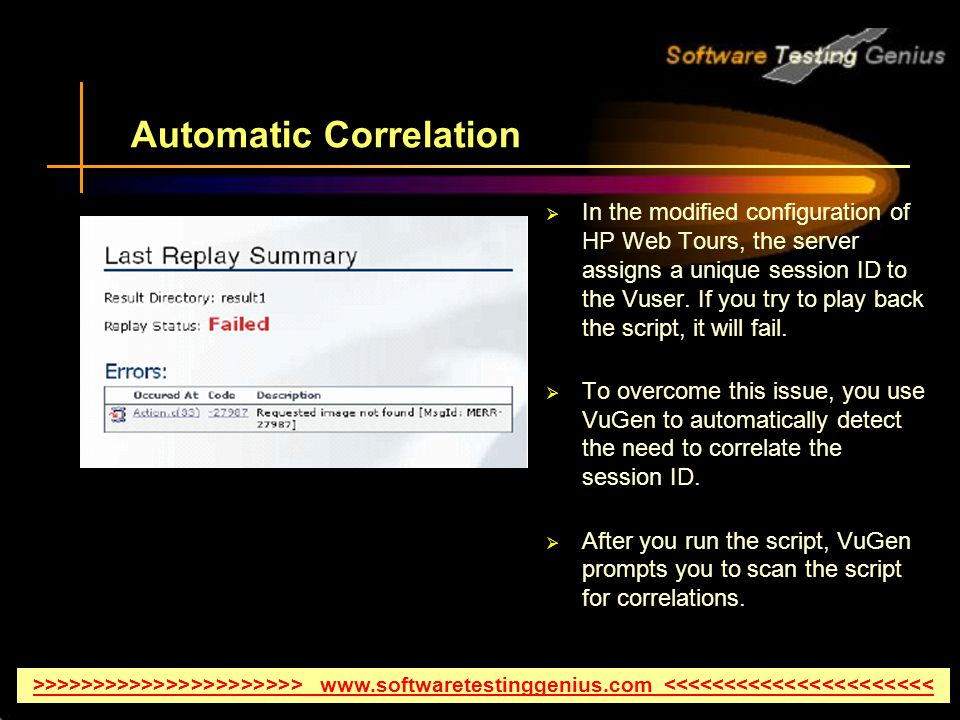 Automatic Correlation  In the modified configuration of HP Web Tours, the server assigns a unique session ID to the Vuser.