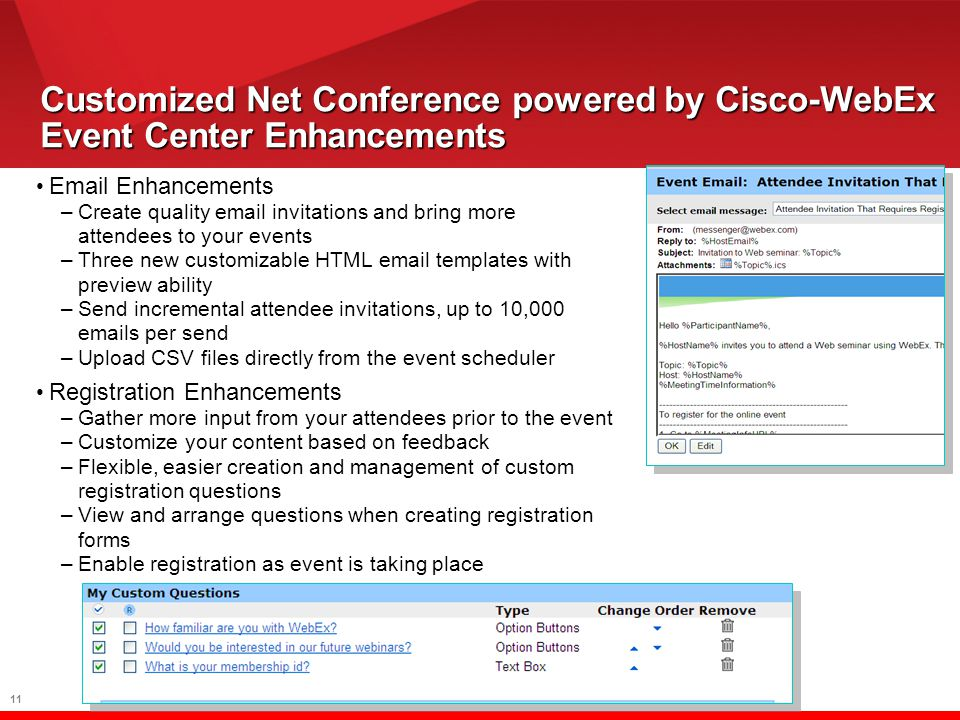11 Customized Net Conference powered by Cisco-WebEx Event Center Enhancements Email Enhancements –Create quality email invitations and bring more attendees to your events –Three new customizable HTML email templates with preview ability –Send incremental attendee invitations, up to 10,000 emails per send –Upload CSV files directly from the event scheduler Registration Enhancements –Gather more input from your attendees prior to the event –Customize your content based on feedback –Flexible, easier creation and management of custom registration questions –View and arrange questions when creating registration forms –Enable registration as event is taking place