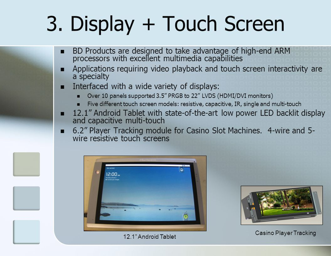 3. Display + Touch Screen BD Products are designed to take advantage of high-end ARM processors with excellent multimedia capabilities Applications re