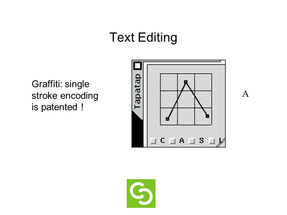 Text Editing Graffiti: single stroke encoding is patented ! A