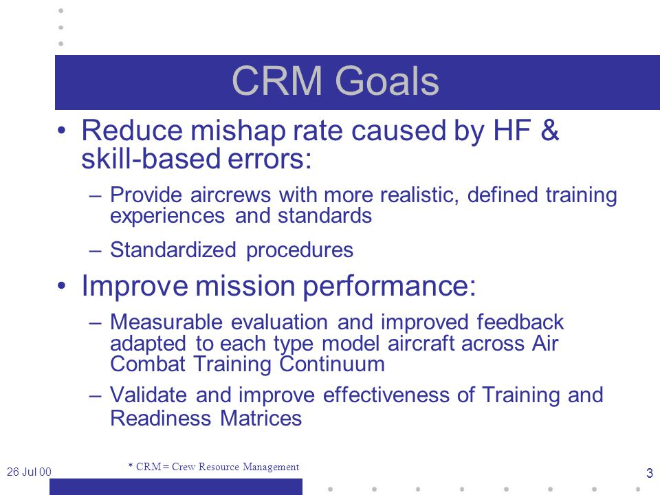 26 Jul 00 3 CRM Goals Reduce mishap rate caused by HF & skill-based errors: –Provide aircrews with more realistic, defined training experiences and standards –Standardized procedures Improve mission performance: –Measurable evaluation and improved feedback adapted to each type model aircraft across Air Combat Training Continuum –Validate and improve effectiveness of Training and Readiness Matrices * CRM = Crew Resource Management