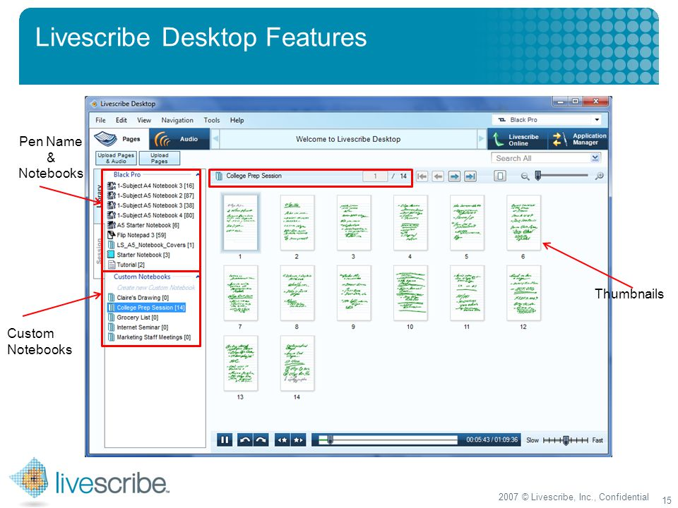 2007 © Livescribe, Inc., Confidential 15 Livescribe Desktop Features Pen Name & Notebooks Custom Notebooks Thumbnails
