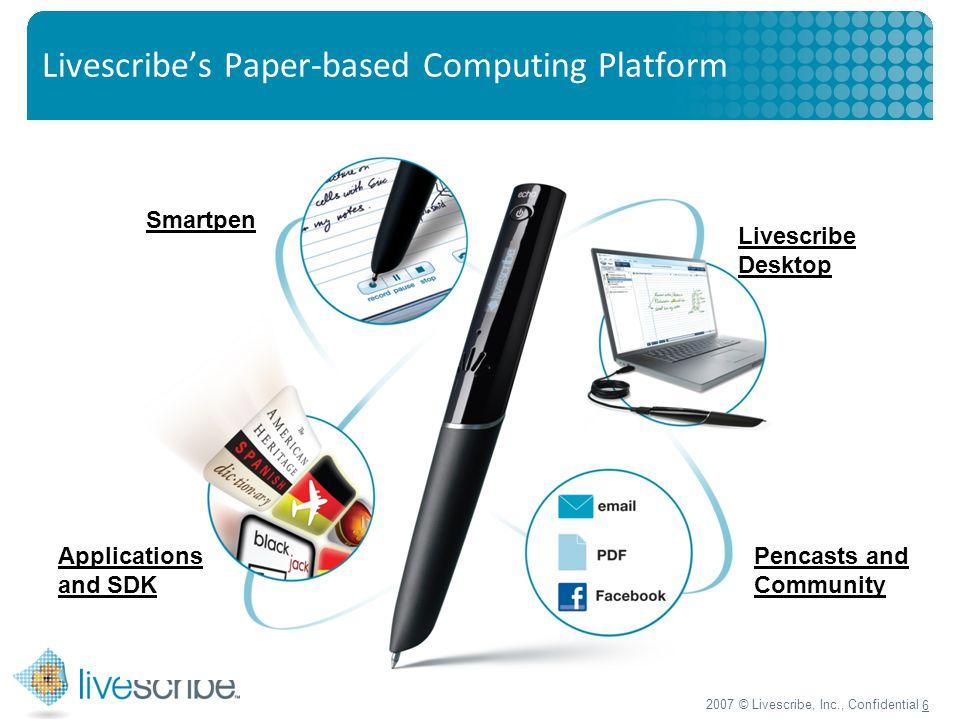 2007 © Livescribe, Inc., Confidential 6 Livescribe's Paper-based Computing Platform Smartpen Applications and SDK Livescribe Desktop Pencasts and Community