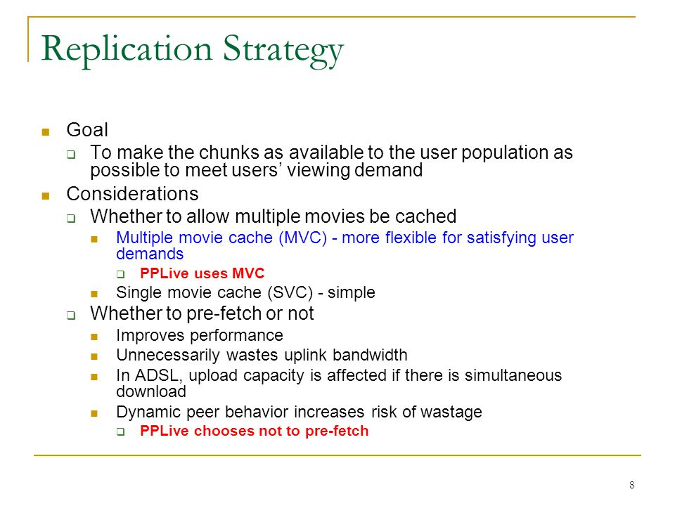 9 Replication Strategy(Cont.)  Remove chunks or movies.