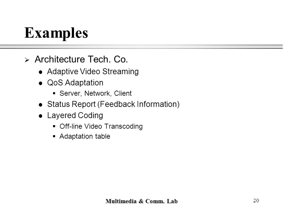 Multimedia & Comm. Lab 20 Examples  Architecture Tech. Co. Adaptive Video Streaming QoS Adaptation  Server, Network, Client Status Report (Feedback