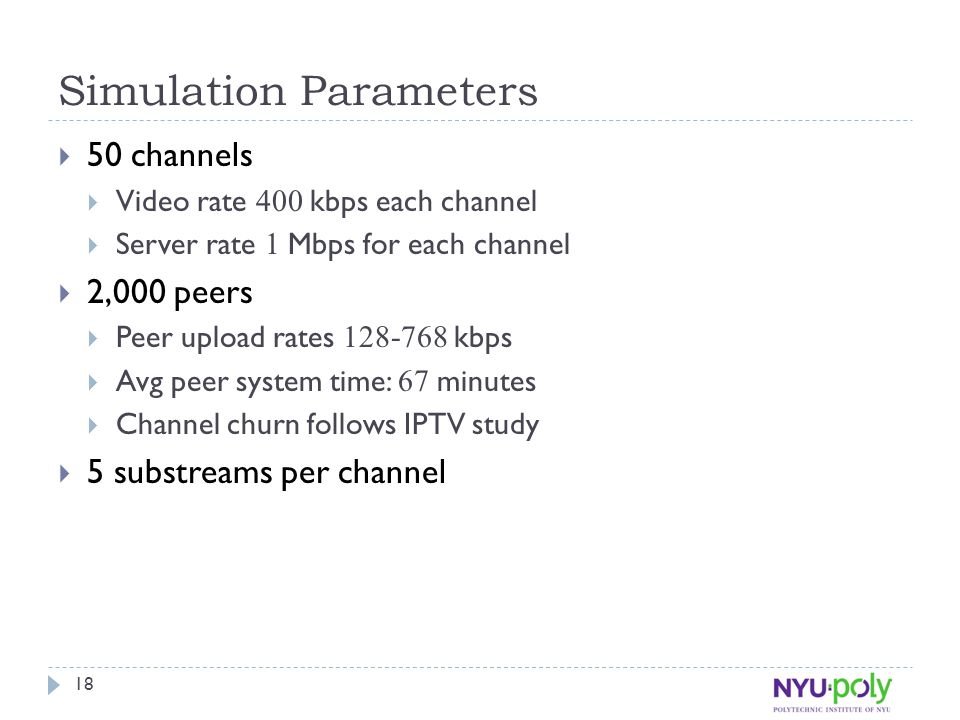 Simulation Parameters  50 channels  Video rate 400 kbps each channel  Server rate 1 Mbps for each channel  2,000 peers  Peer upload rates 128-768