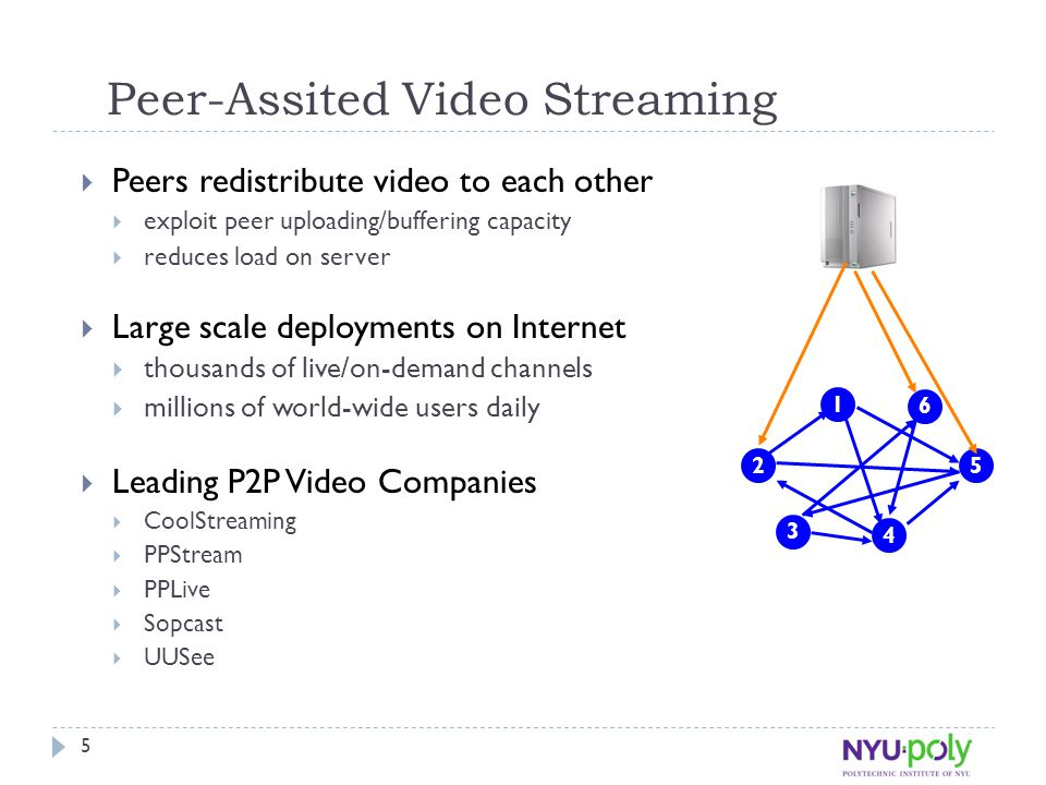 5 Peer-Assited Video Streaming  Peers redistribute video to each other  exploit peer uploading/buffering capacity  reduces load on server  Large s
