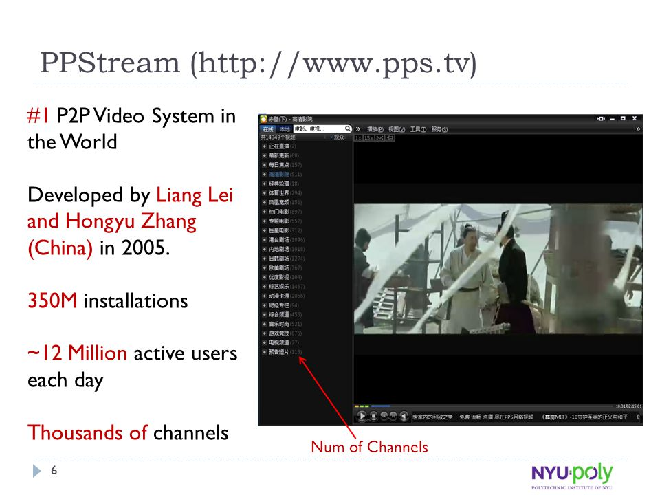 PPStream (http://www.pps.tv) #1 P2P Video System in the World Developed by Liang Lei and Hongyu Zhang (China) in 2005. 350M installations ~12 Million