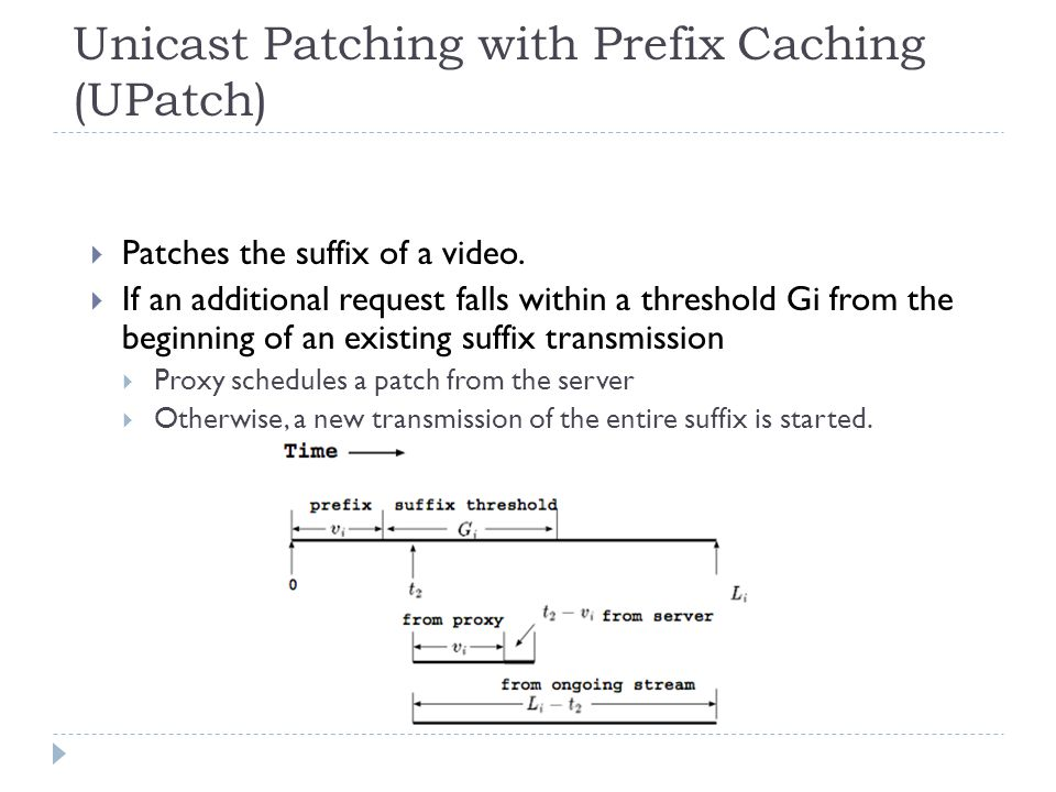 Unicast Patching with Prefix Caching (UPatch)  Patches the suffix of a video.  If an additional request falls within a threshold Gi from the beginni