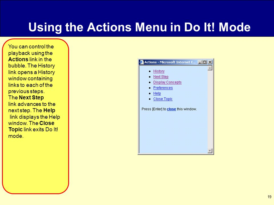 19 Using the Actions Menu in Do It.