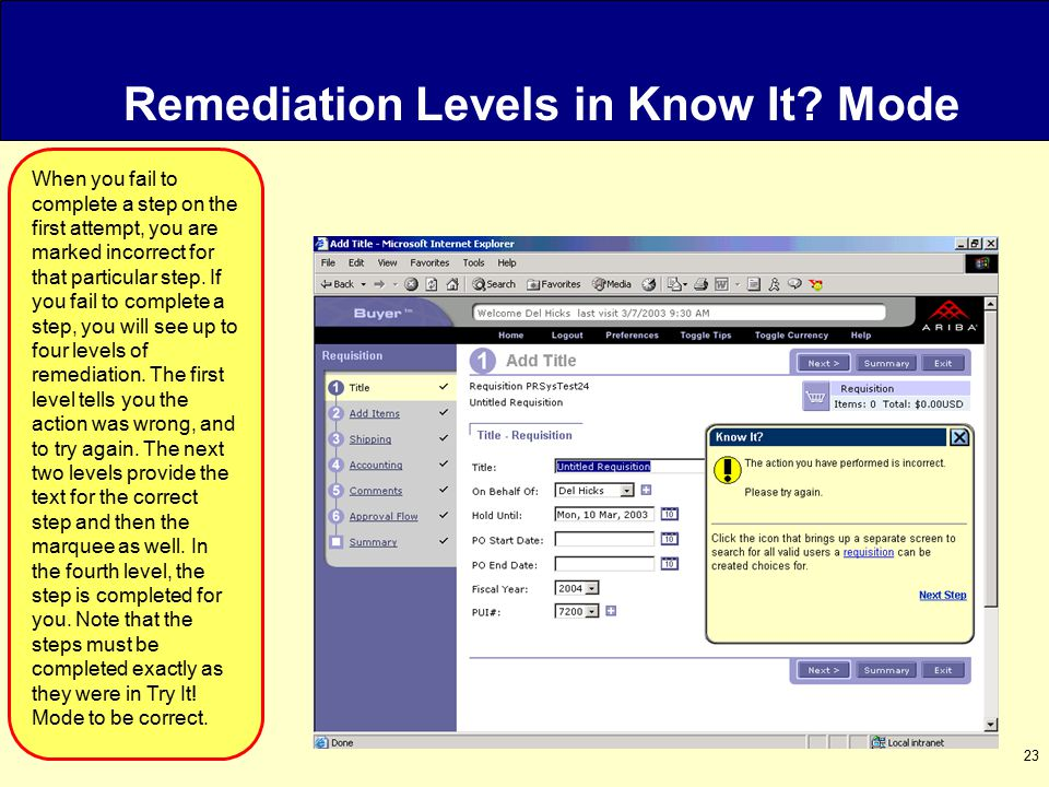 23 Remediation Levels in Know It.