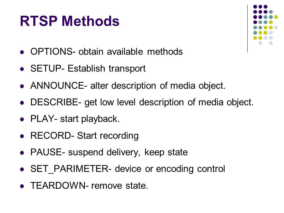 RTSP Methods OPTIONS- obtain available methods SETUP- Establish transport ANNOUNCE- alter description of media object. DESCRIBE- get low level descrip