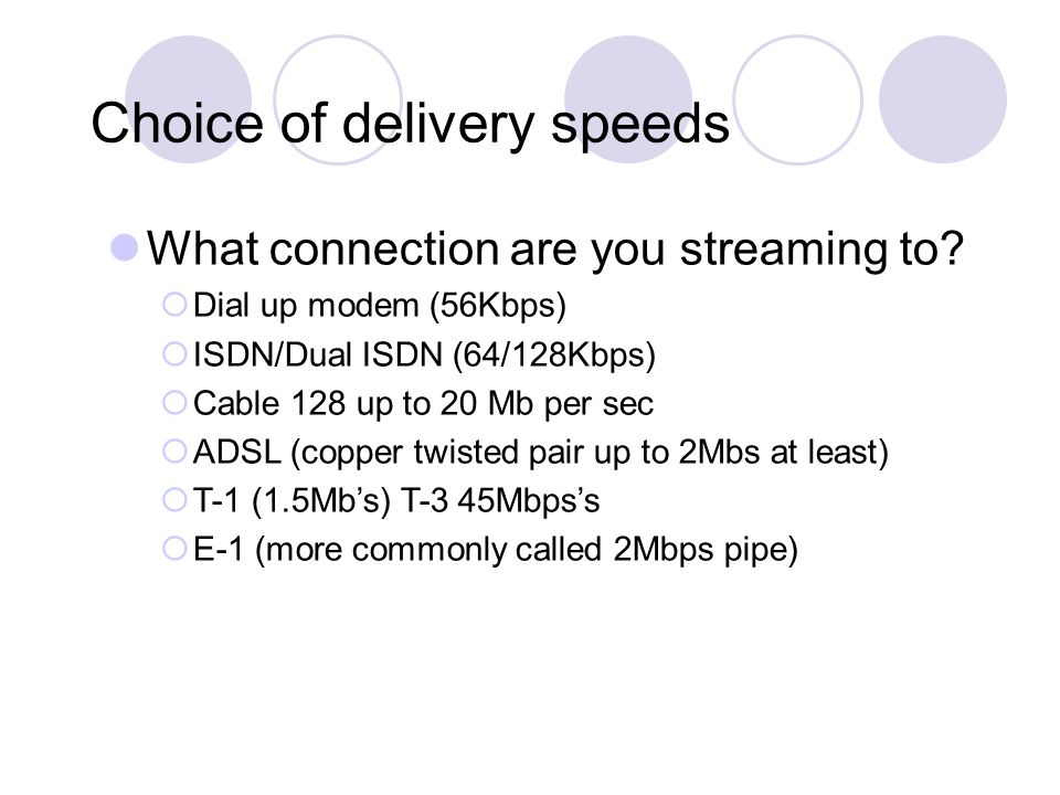 Choice of delivery speeds What connection are you streaming to.
