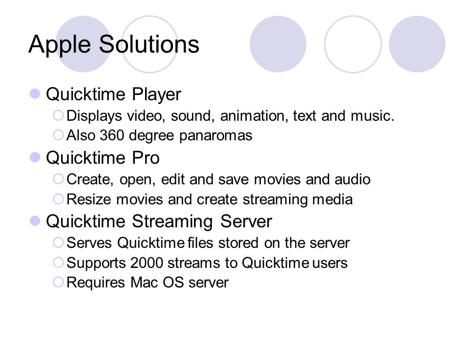 Apple Solutions Quicktime Player  Displays video, sound, animation, text and music.