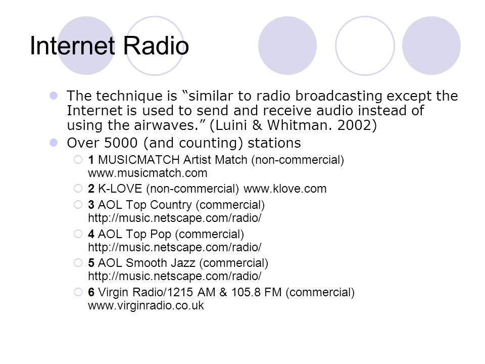 The technique is similar to radio broadcasting except the Internet is used to send and receive audio instead of using the airwaves. (Luini & Whitman.