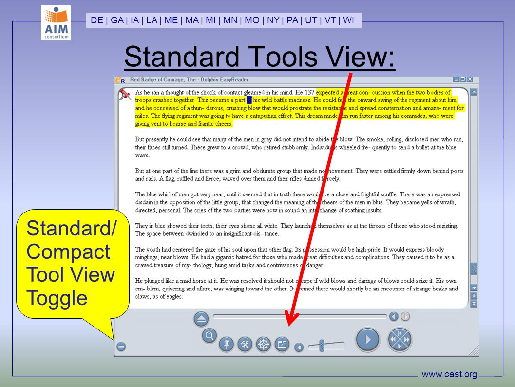www.cast.org DE | GA | IA | LA | ME | MA | MI | MN | MO | NY | PA | UT | VT | WI Standard Tools View: Standard/ Compact Tool View Toggle