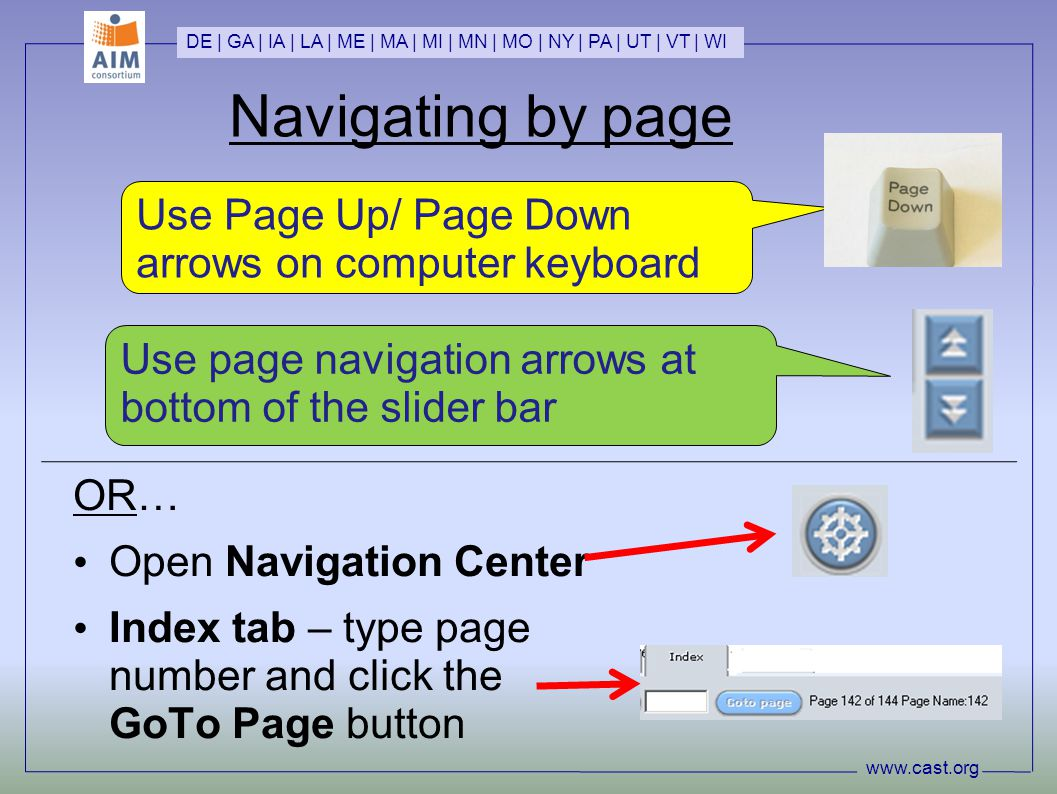 Navigating by page OR… Open Navigation Center Index tab – type page number and click the GoTo Page button www.cast.org DE | GA | IA | LA | ME | MA | MI | MN | MO | NY | PA | UT | VT | WI Use page navigation arrows at bottom of the slider bar Use Page Up/ Page Down arrows on computer keyboard
