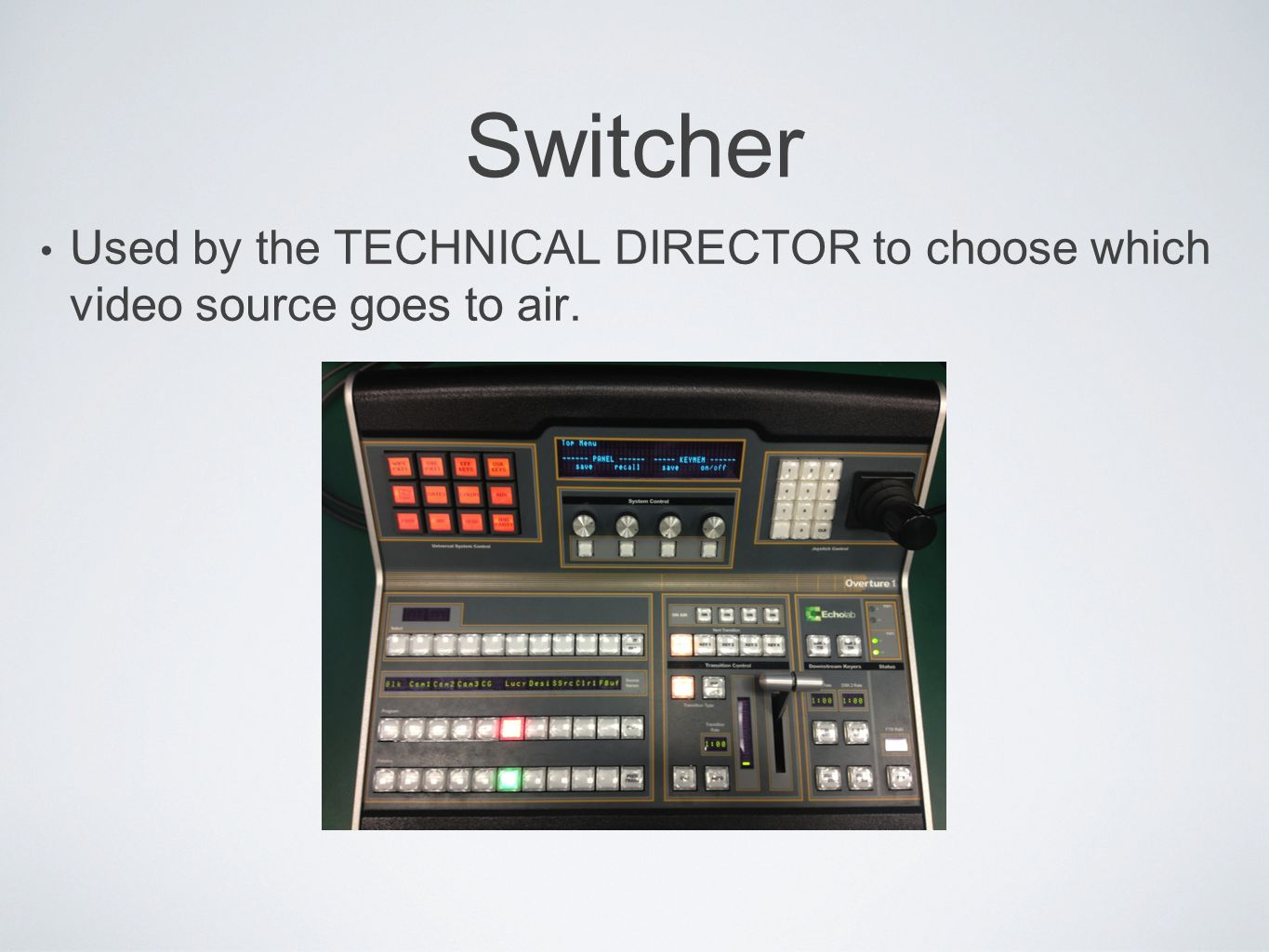 Switcher Used by the TECHNICAL DIRECTOR to choose which video source goes to air.