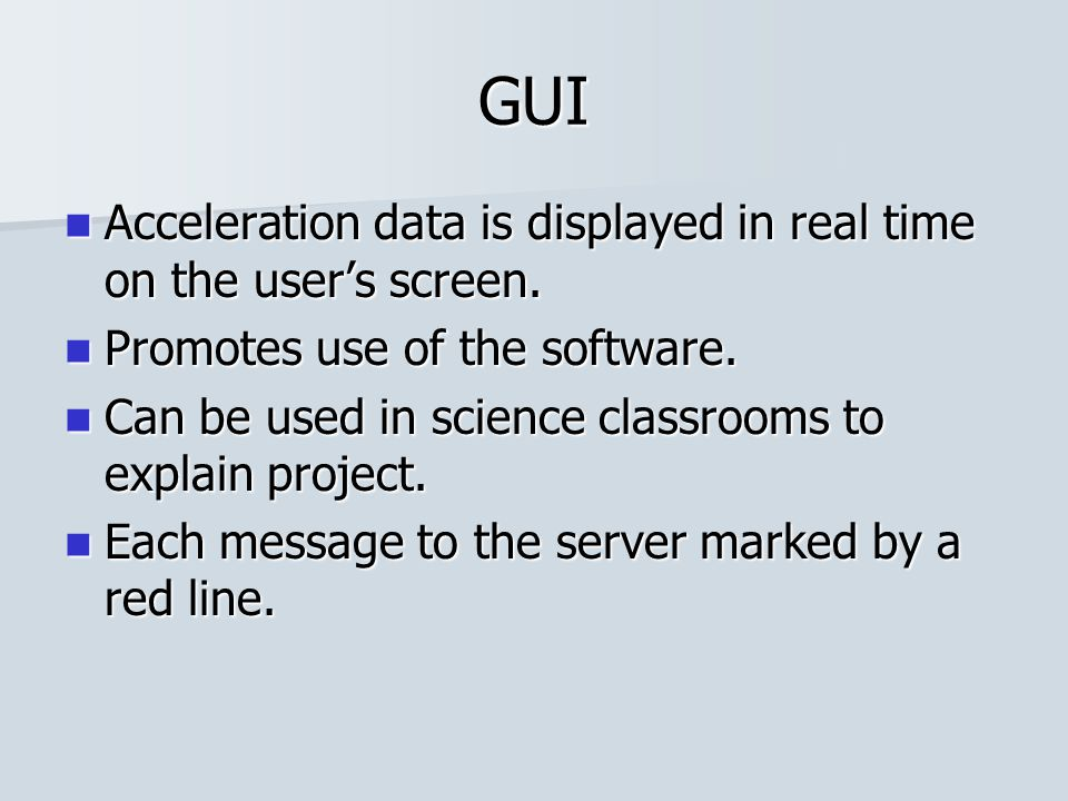 GUI Acceleration data is displayed in real time on the user's screen. Acceleration data is displayed in real time on the user's screen. Promotes use o