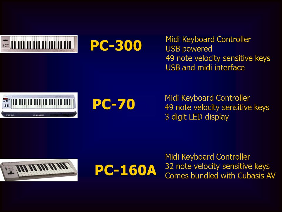 PC-300 Midi Keyboard Controller USB powered 49 note velocity sensitive keys USB and midi interface PC-70 Midi Keyboard Controller 49 note velocity sen