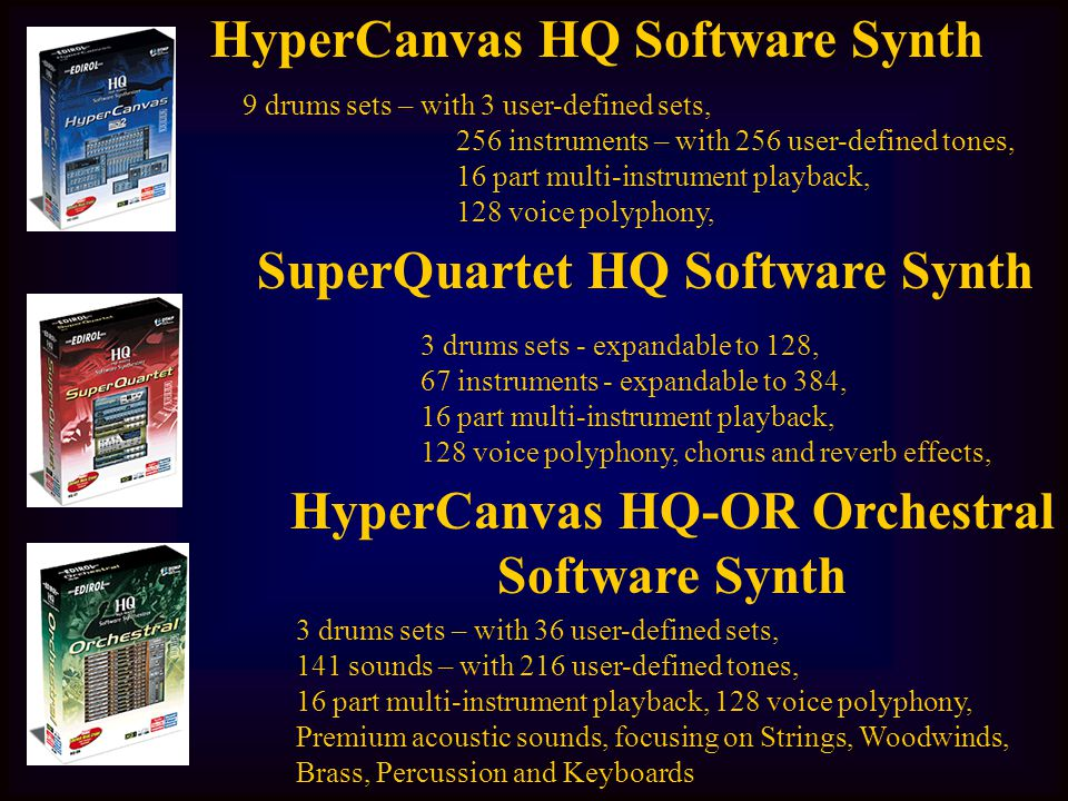 HyperCanvas HQ Software Synth 9 drums sets – with 3 user-defined sets, 256 instruments – with 256 user-defined tones, 16 part multi-instrument playbac