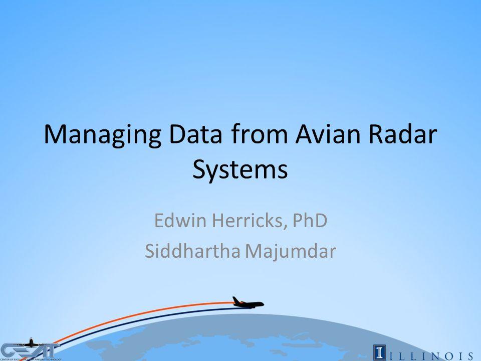 Managing Data from Avian Radar Systems Edwin Herricks, PhD Siddhartha Majumdar