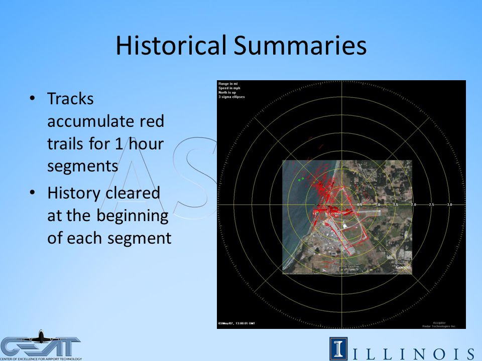 Historical Summaries Tracks accumulate red trails for 1 hour segments History cleared at the beginning of each segment