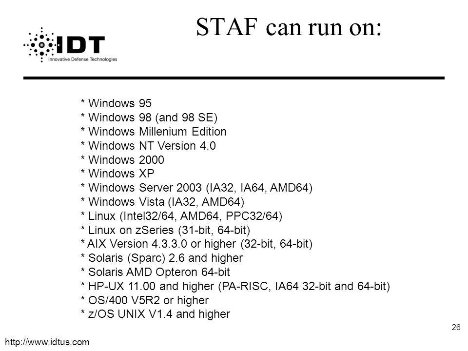 http://www.idtus.com 26 * Windows 95 * Windows 98 (and 98 SE) * Windows Millenium Edition * Windows NT Version 4.0 * Windows 2000 * Windows XP * Windo