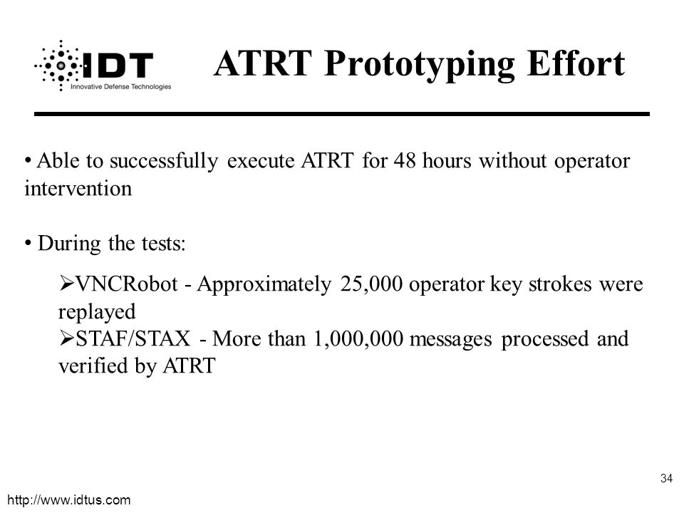 http://www.idtus.com 34 Able to successfully execute ATRT for 48 hours without operator intervention During the tests:  VNCRobot - Approximately 25,000 operator key strokes were replayed  STAF/STAX - More than 1,000,000 messages processed and verified by ATRT ATRT Prototyping Effort