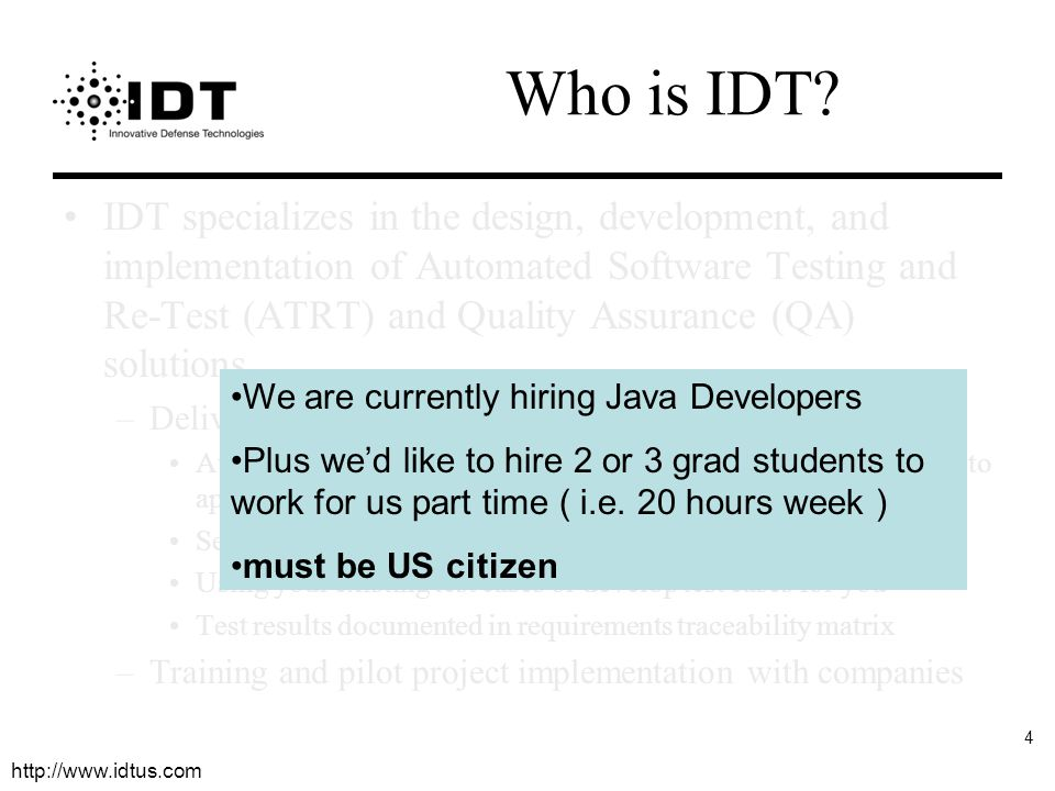 http://www.idtus.com 4 Who is IDT.