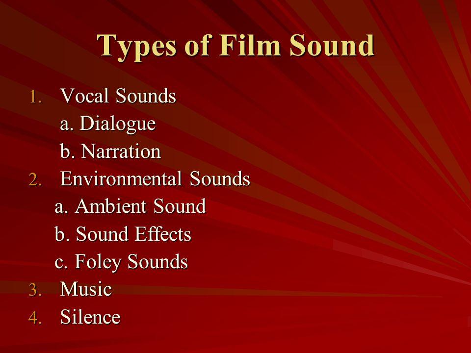 Types of Film Sound 1. Vocal Sounds a. Dialogue a. Dialogue b. Narration b. Narration 2. Environmental Sounds a. Ambient Sound a. Ambient Sound b. Sou