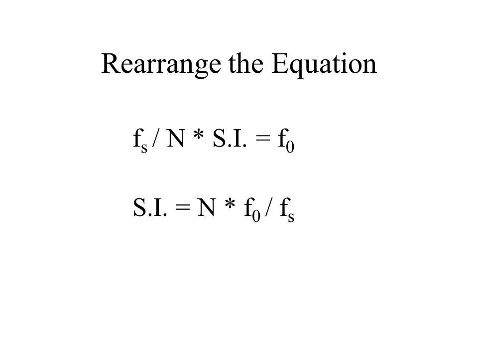 Rearrange the Equation f s / N * S.I. = f 0 S.I. = N * f 0 / f s