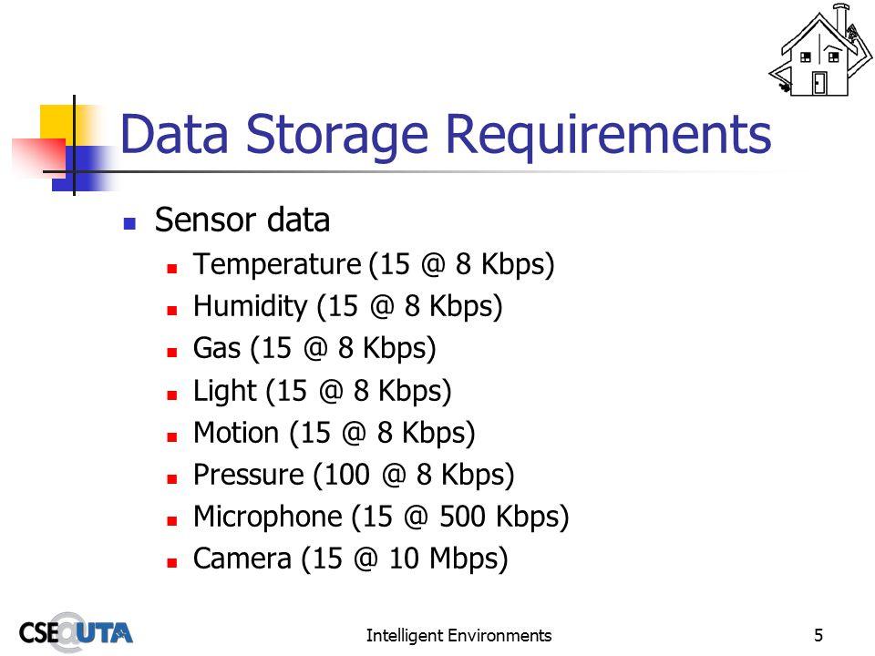 Intelligent Environments5 Data Storage Requirements Sensor data Temperature (15 @ 8 Kbps) Humidity (15 @ 8 Kbps) Gas (15 @ 8 Kbps) Light (15 @ 8 Kbps) Motion (15 @ 8 Kbps) Pressure (100 @ 8 Kbps) Microphone (15 @ 500 Kbps) Camera (15 @ 10 Mbps)