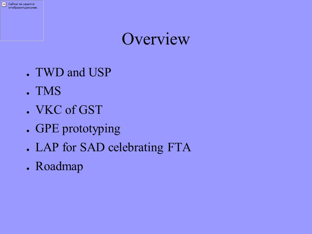 Overview ● TWD and USP ● TMS ● VKC of GST ● GPE prototyping ● LAP for SAD celebrating FTA ● Roadmap