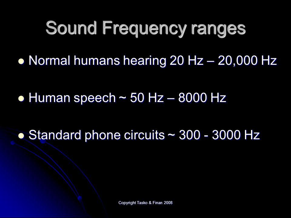 Copyright Tasko & Finan 2008 Sound Frequency ranges Normal humans hearing 20 Hz – 20,000 Hz Normal humans hearing 20 Hz – 20,000 Hz Human speech ~ 50 Hz – 8000 Hz Human speech ~ 50 Hz – 8000 Hz Standard phone circuits ~ 300 - 3000 Hz Standard phone circuits ~ 300 - 3000 Hz