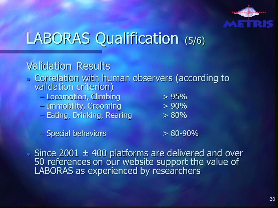 20 LABORAS Qualification (5/6) Validation Results ● Correlation with human observers (according to validation criterion) – Locomotion, Climbing > 95% – Immobility, Grooming > 90% – Eating, Drinking, Rearing> 80% – Special behaviors> 80-90% ● Since 2001 ± 400 platforms are delivered and over 50 references on our website support the value of LABORAS as experienced by researchers
