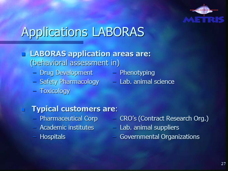 27 Applications LABORAS n LABORAS application areas are: (behavioral assessment in) –Drug Development– Phenotyping –Safety Pharmacology– Lab.