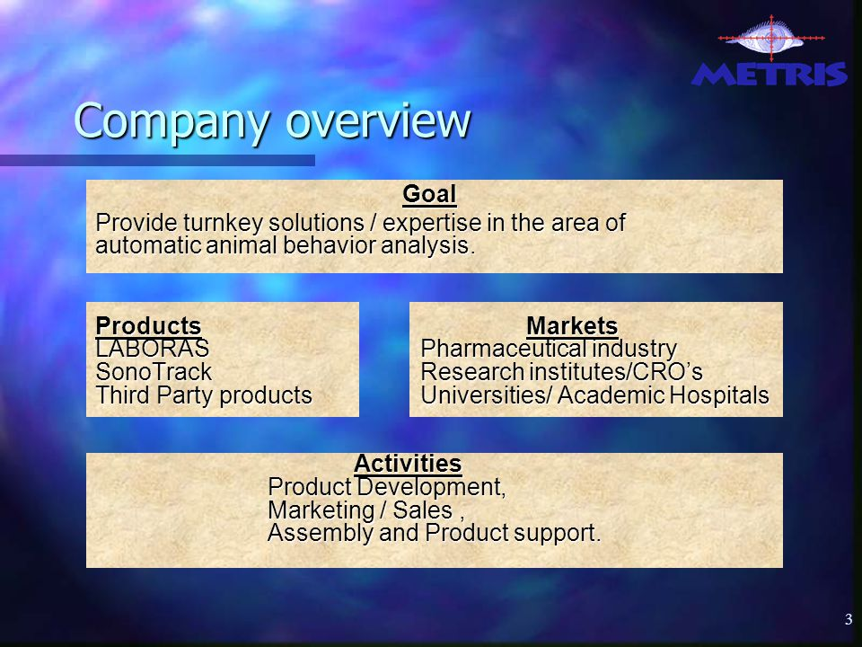 3 Company overview Goal Provide turnkey solutions / expertise in the area of automatic animal behavior analysis.